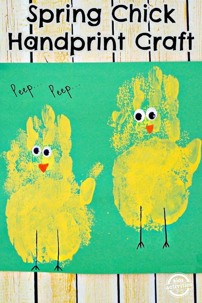 Handprint spring chicks