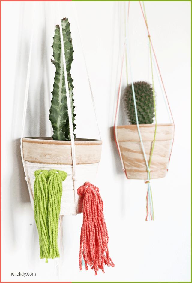 Hanging yarn tassel cactus planters