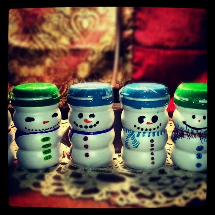 Homemade snowmen tea containers