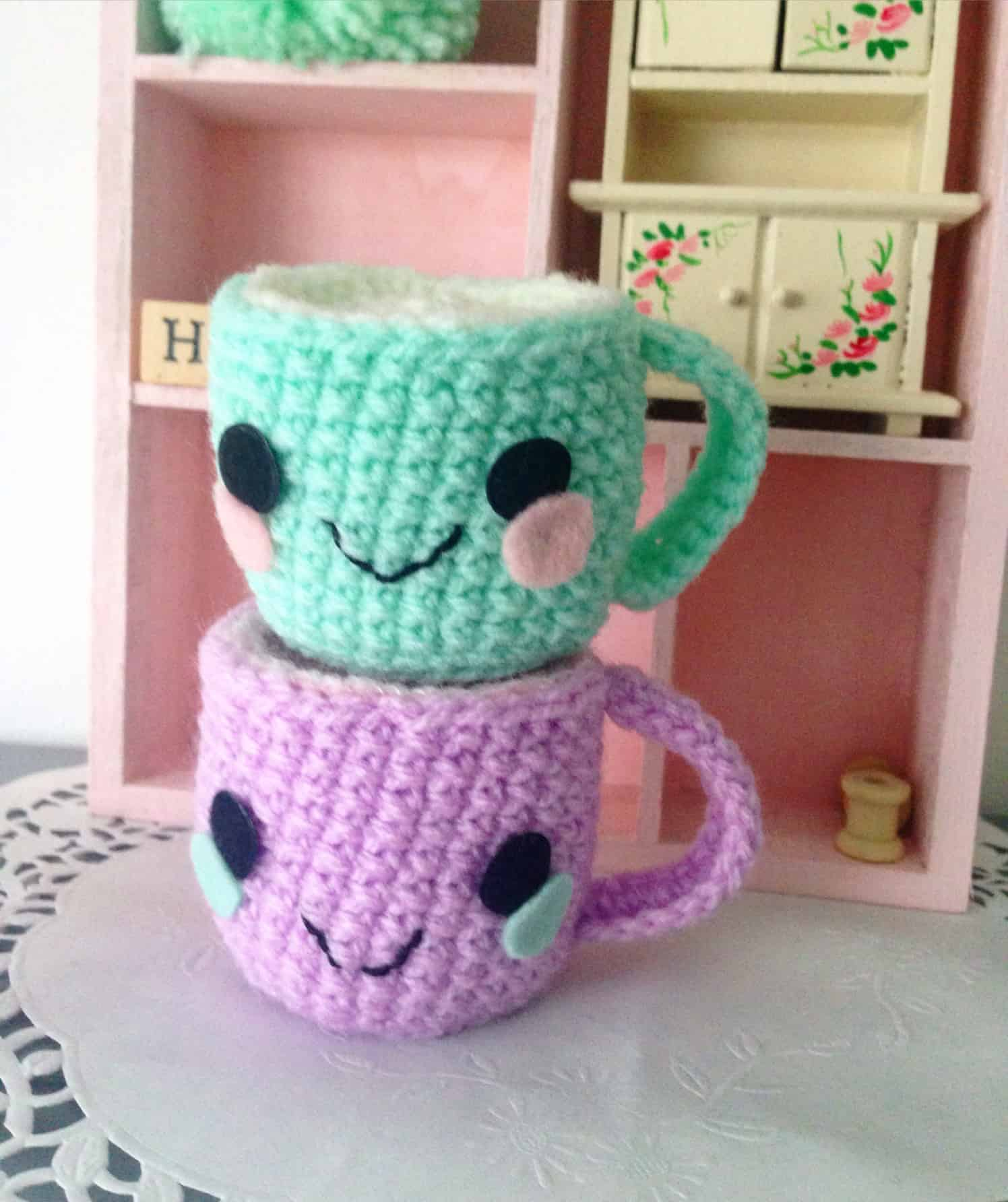 Kawaii crocheted mugs