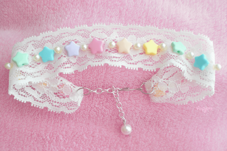 Kawaii fairy bead and lace choker