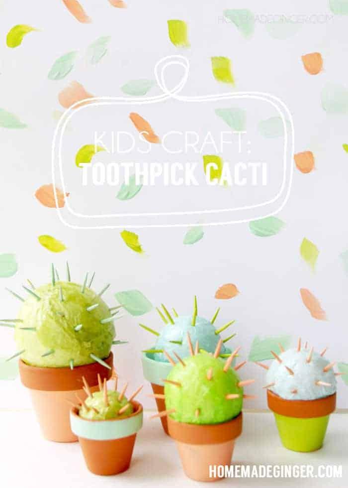 Kids toothpick cacti craft