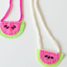 Mini felt watermelon necklaces