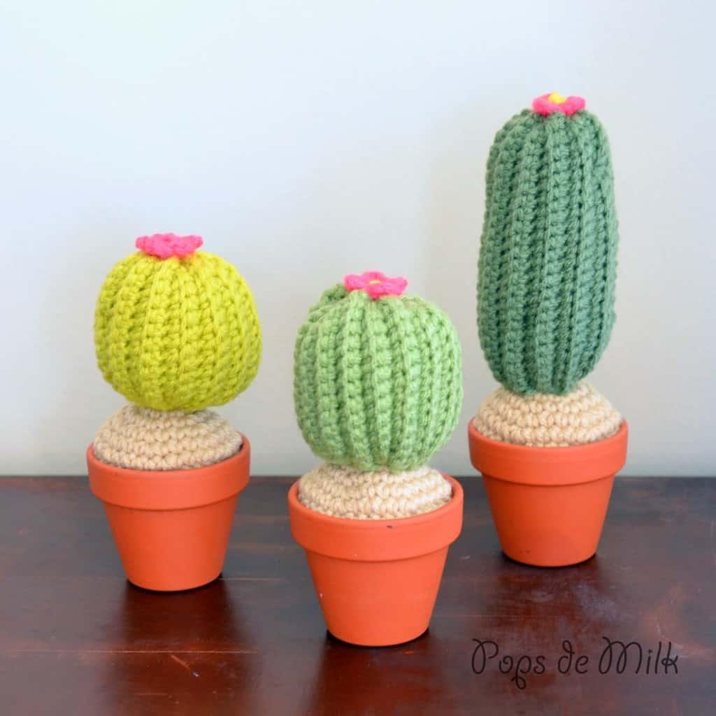 Miniature crocheted cacti