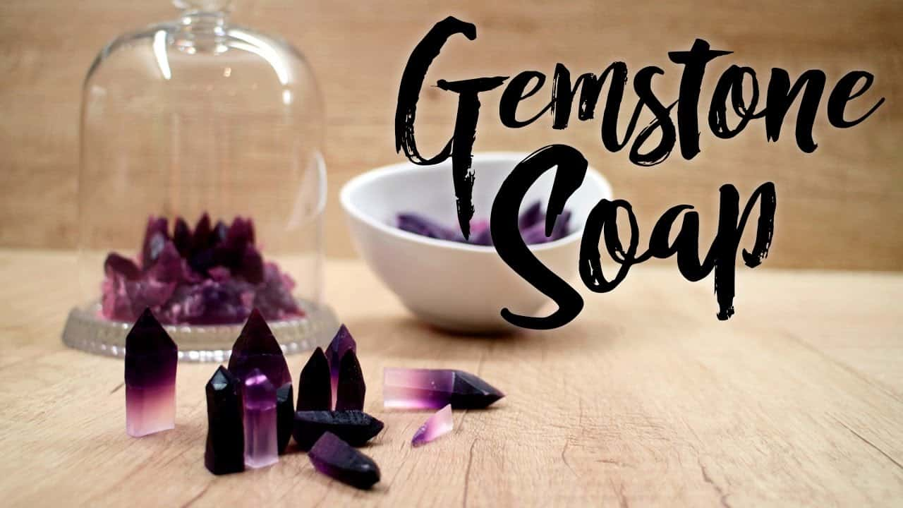 Miniature crystal shaped gemstone soap