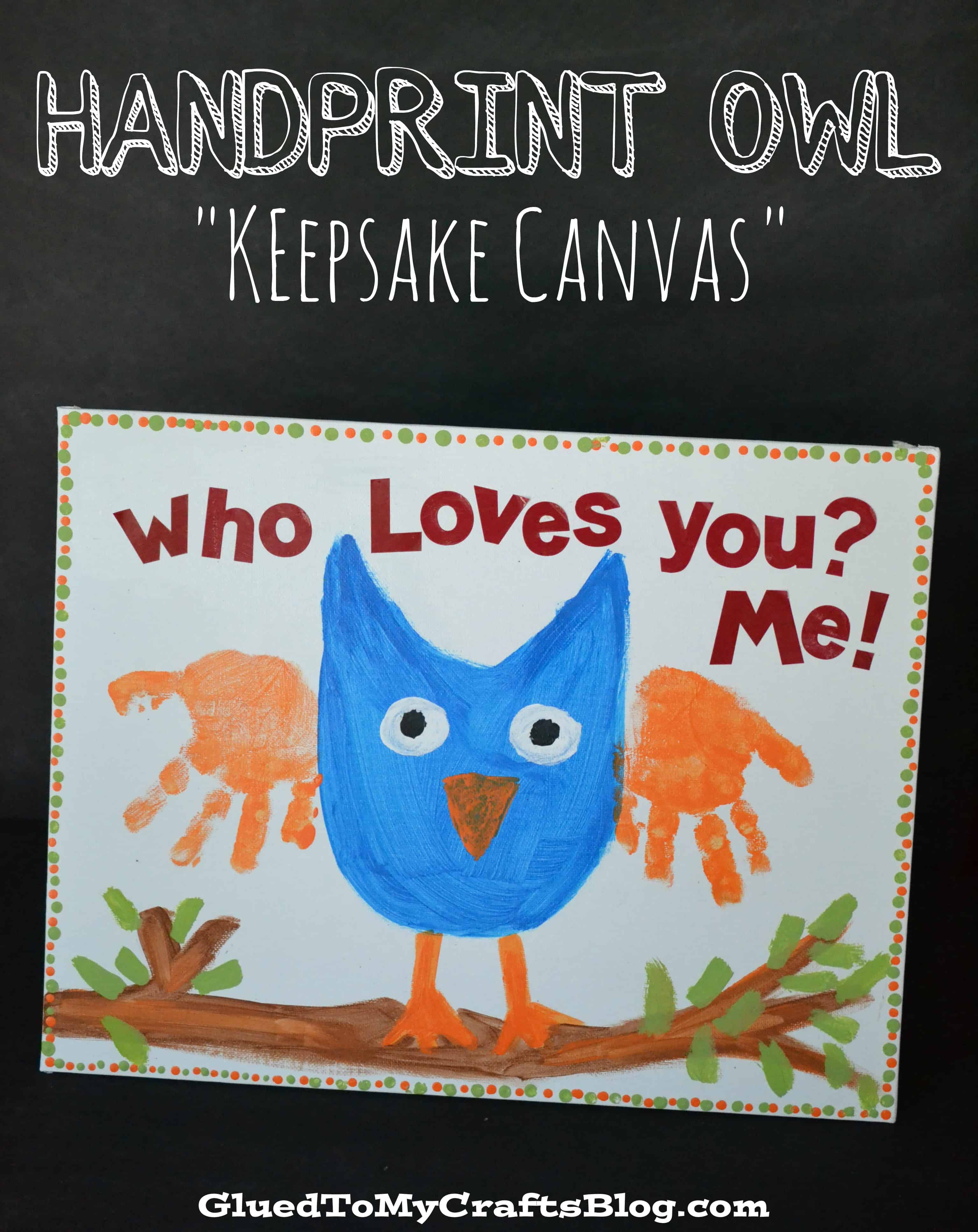 Owl painting with handprint wings