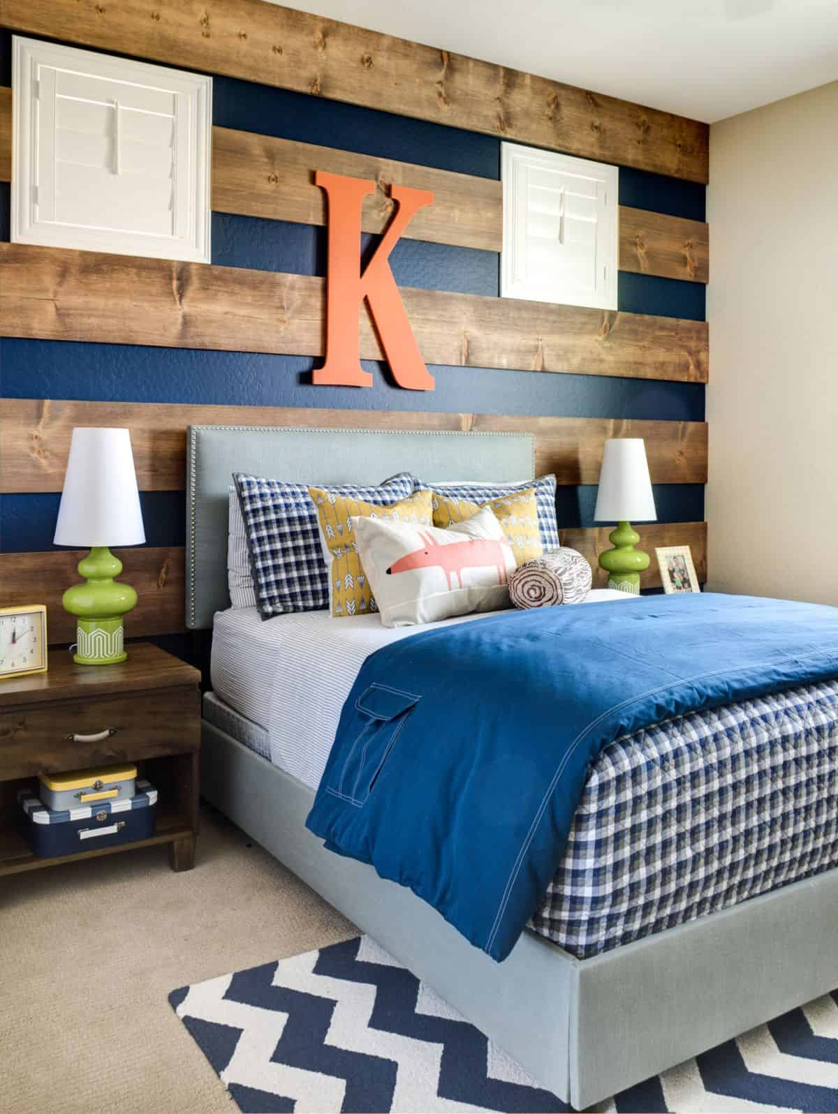Paint and wood accent wall