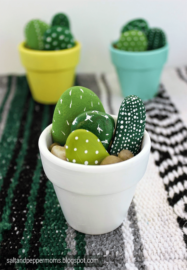 Painted pebble cactus planter