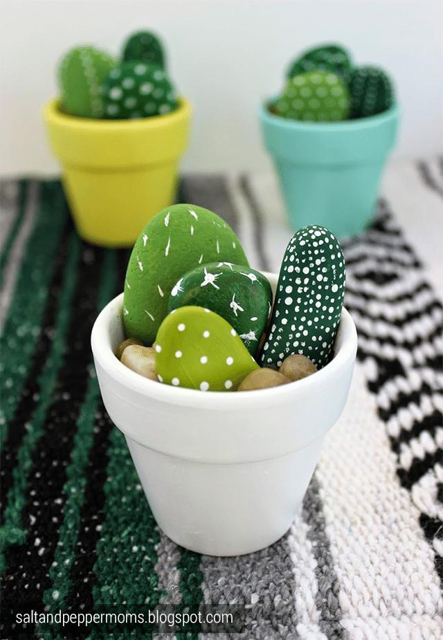 Painted pebble cactus planter