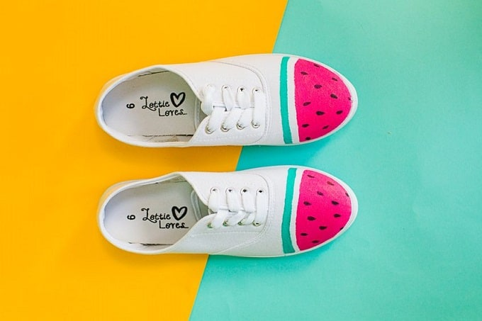 Painted watermelon canvas runners