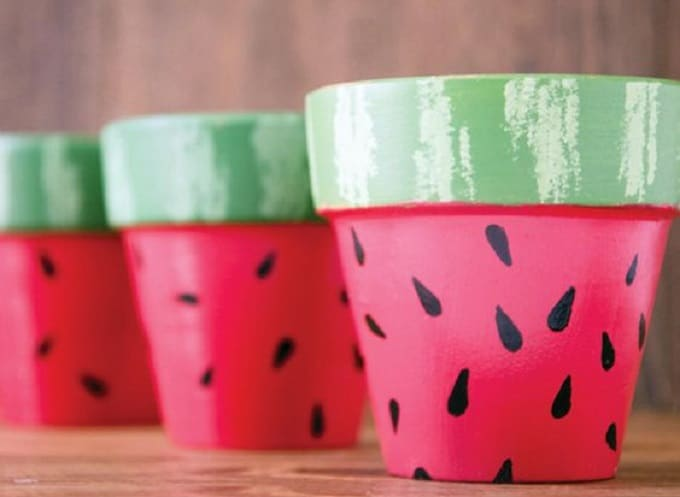 Painted watermelon planters