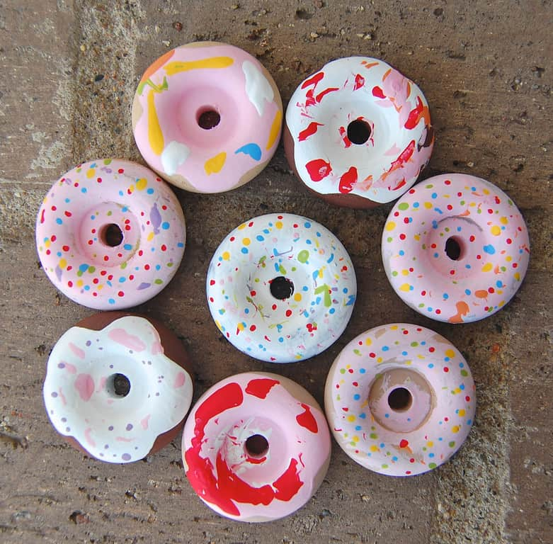 Painted wooden donuts for kids