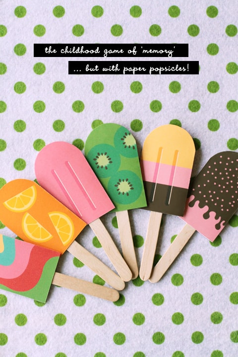 Paper popsicle memory game
