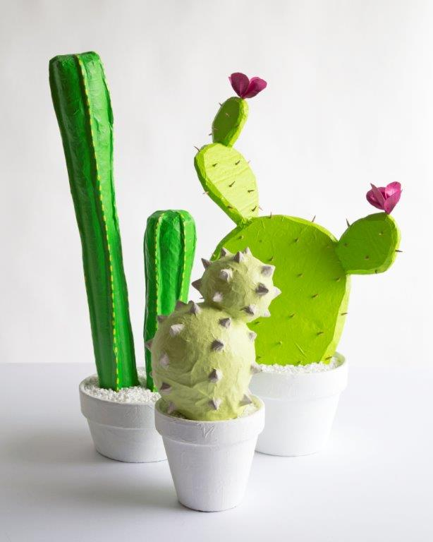 Papier mache cacti planter