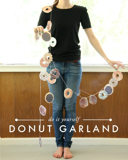 Printed donut party garland