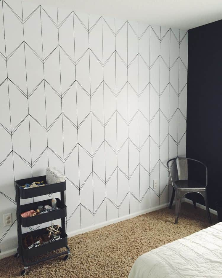 Thinly lined geometric statement wall