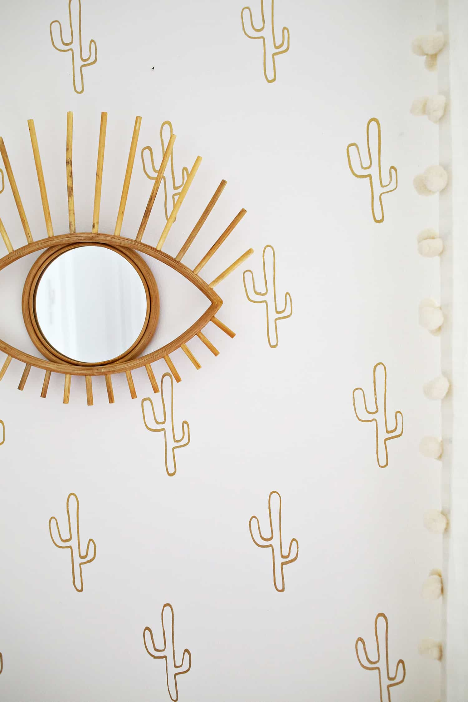 Traced gold cactus wall