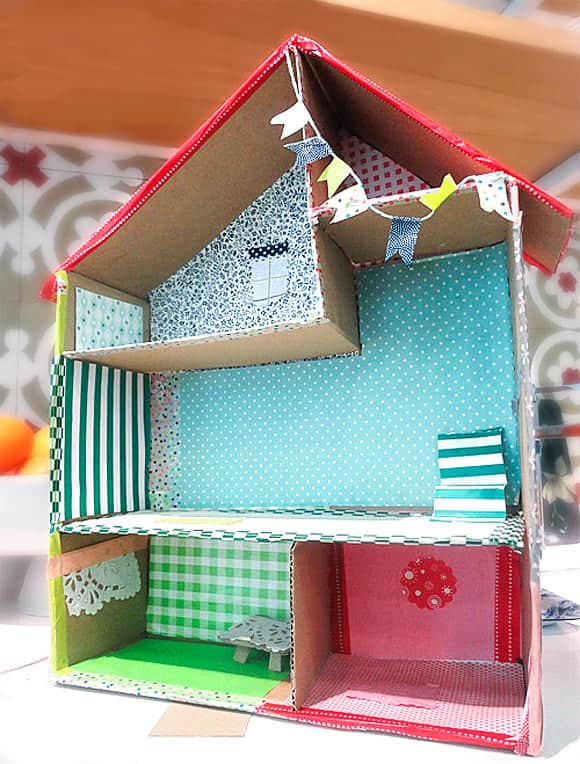 Wallpapered cardboard dollhouse