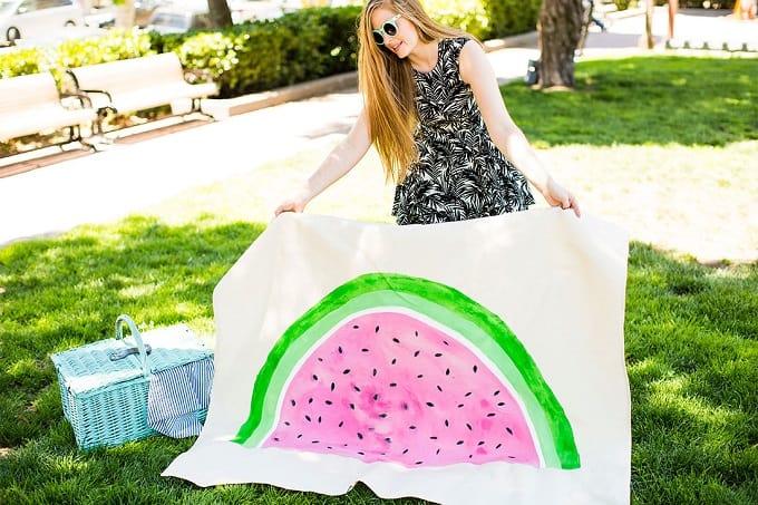 Water colour watermelon picnic rug