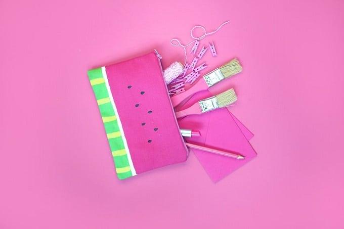 Watermelon print zipping pouch