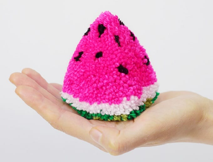 Watermelon yarn pom pom