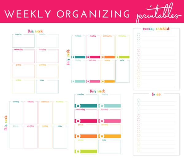 Weekly organizing printables set