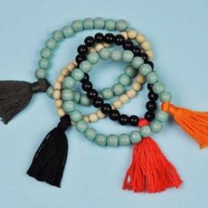 Wooden bead and tassel bracelets