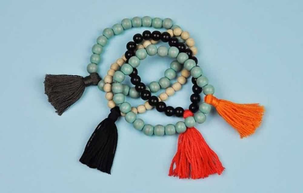 Wooden bead and tassel bracelets