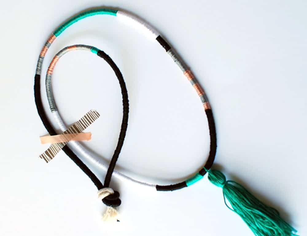 Wrapped cord tassel necklace