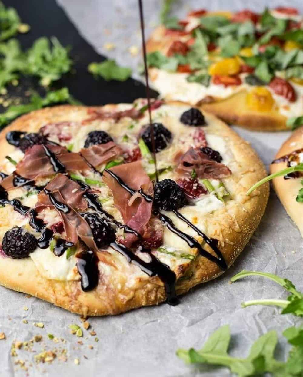 Blackberry asparagus prosciutto pizza