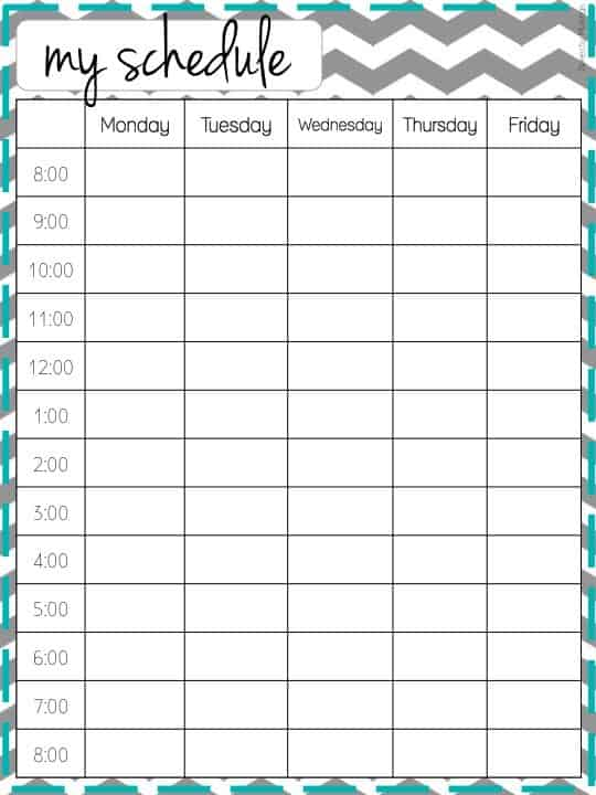 Chevron free printable weekly schedule