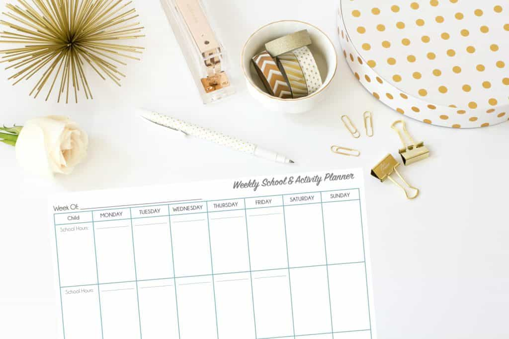 Clean weekly schedule printable