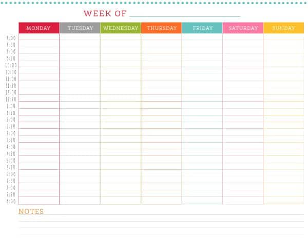 Colorful weekly schedule