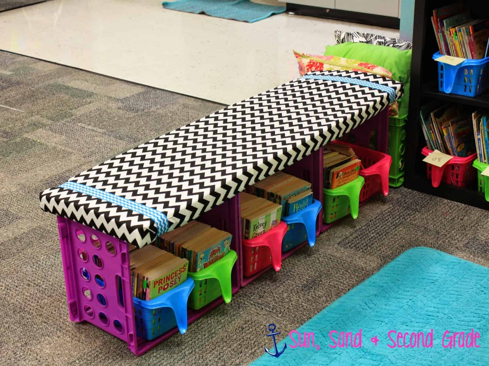 Diy crate bench with cubbies