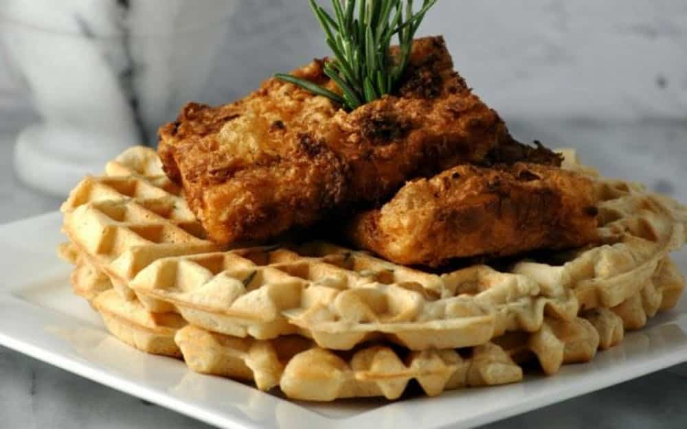 Fried chicken and waffles vegan waffles