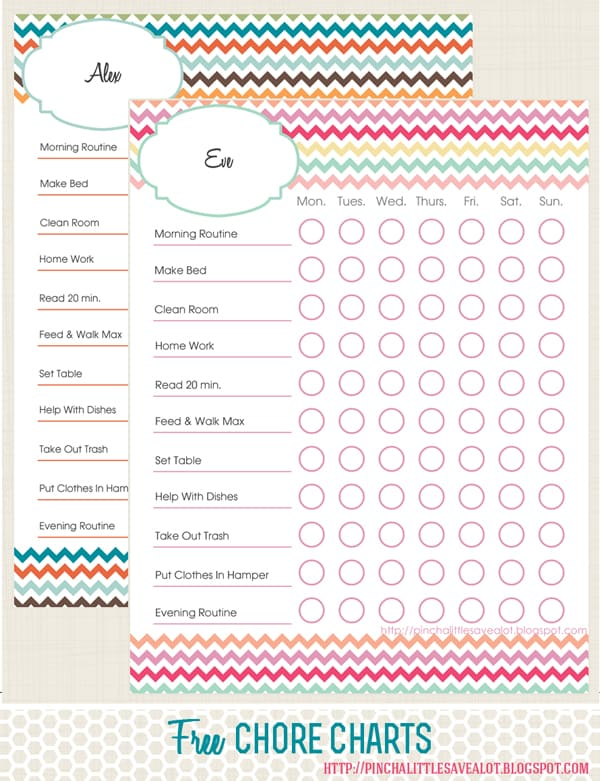 Gender kids chore charts