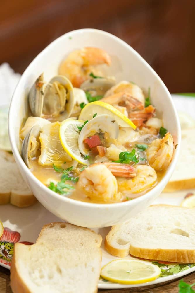Healthy tuscan seafood stew