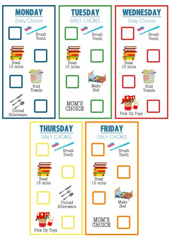 Little kid chore chart