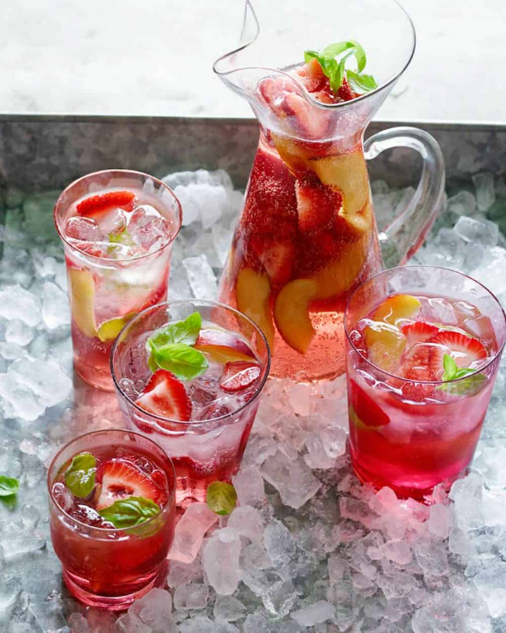 Strawberry and rose sangria