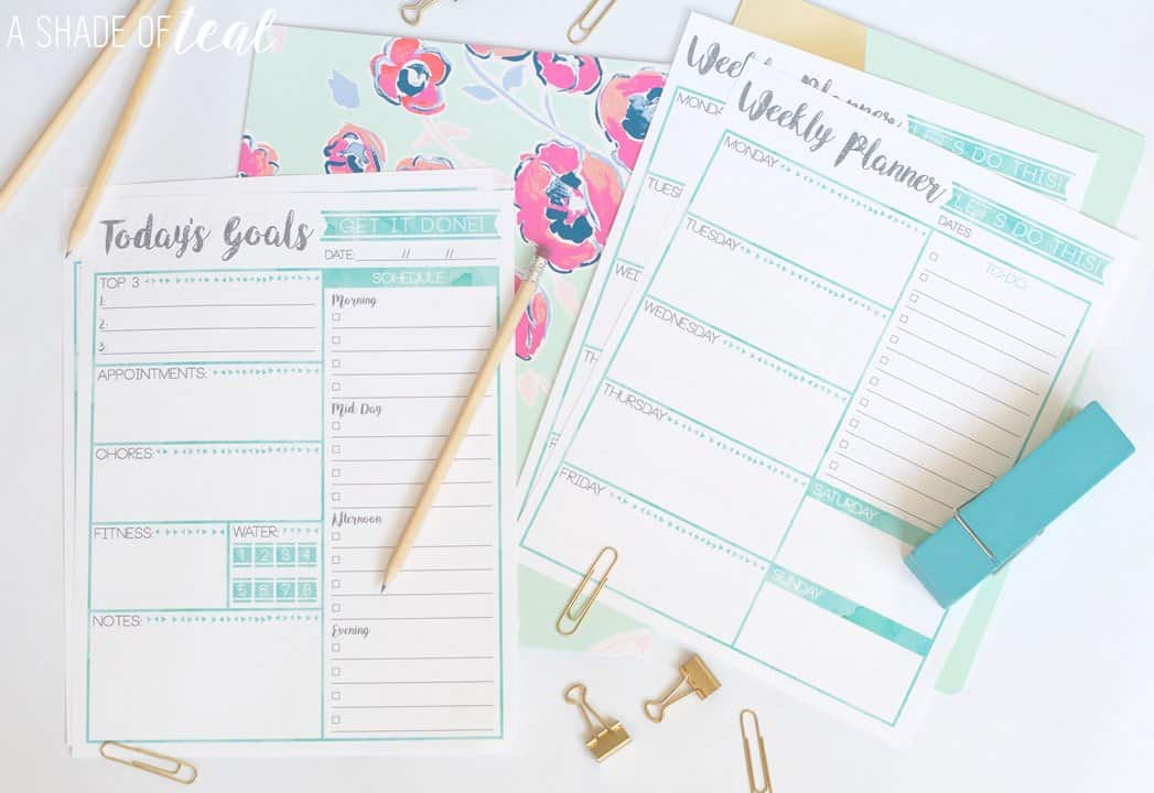Teal weekly planner printable