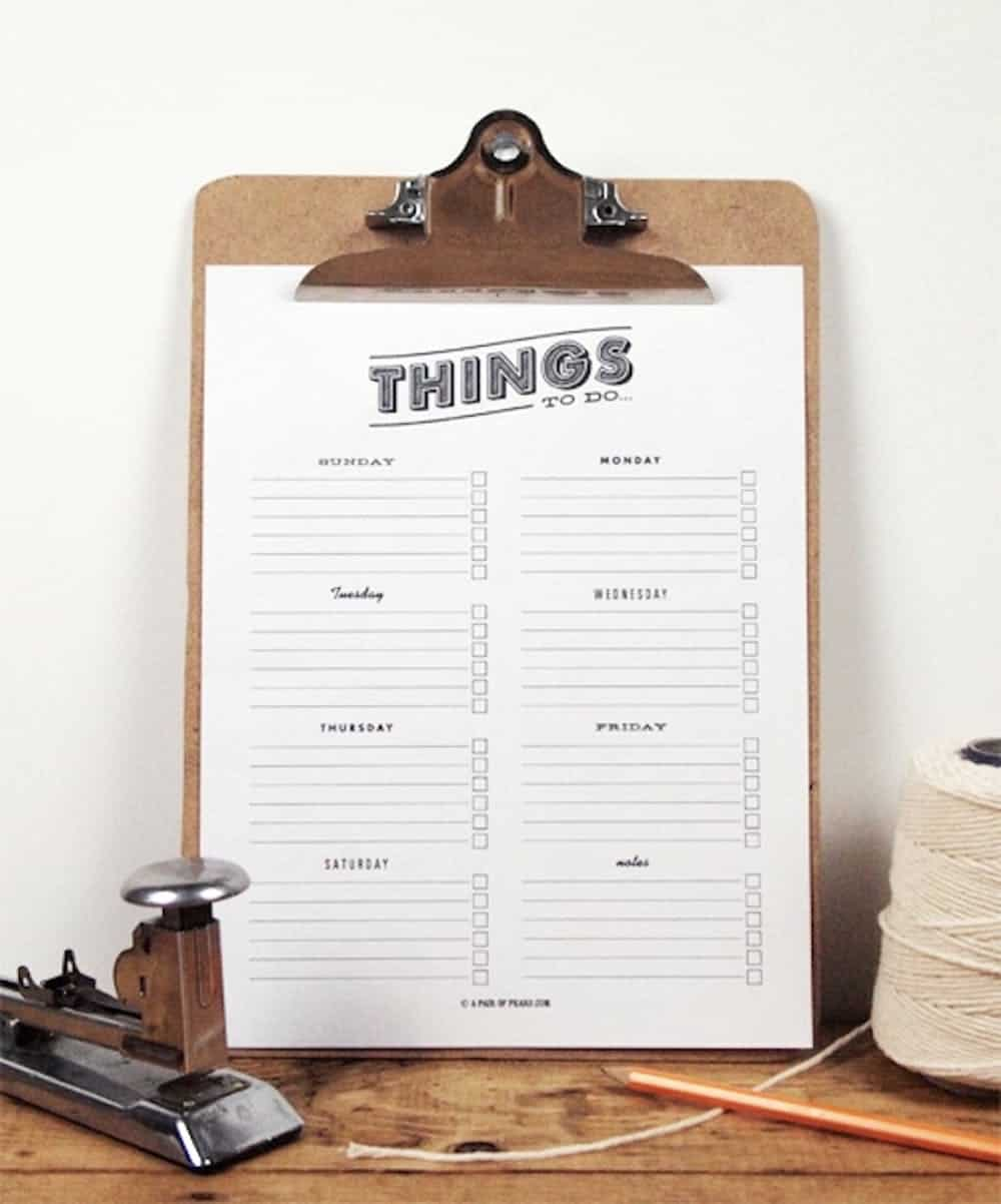 Things to do printable chore chart