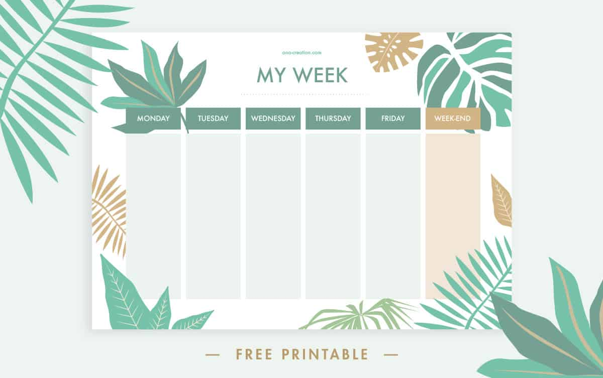 Tropical printable schedule