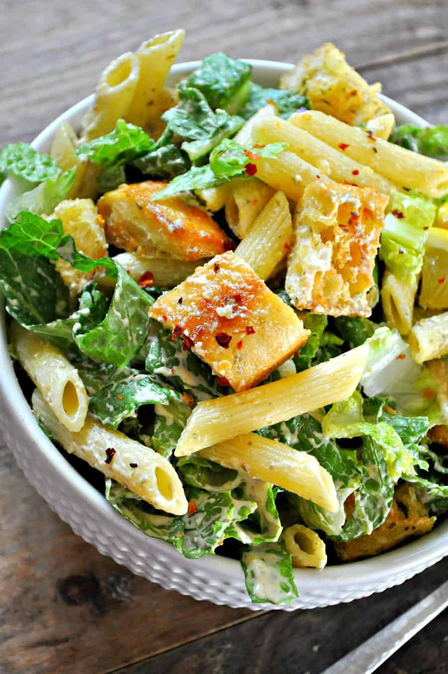 Vegan pasta cesar salad