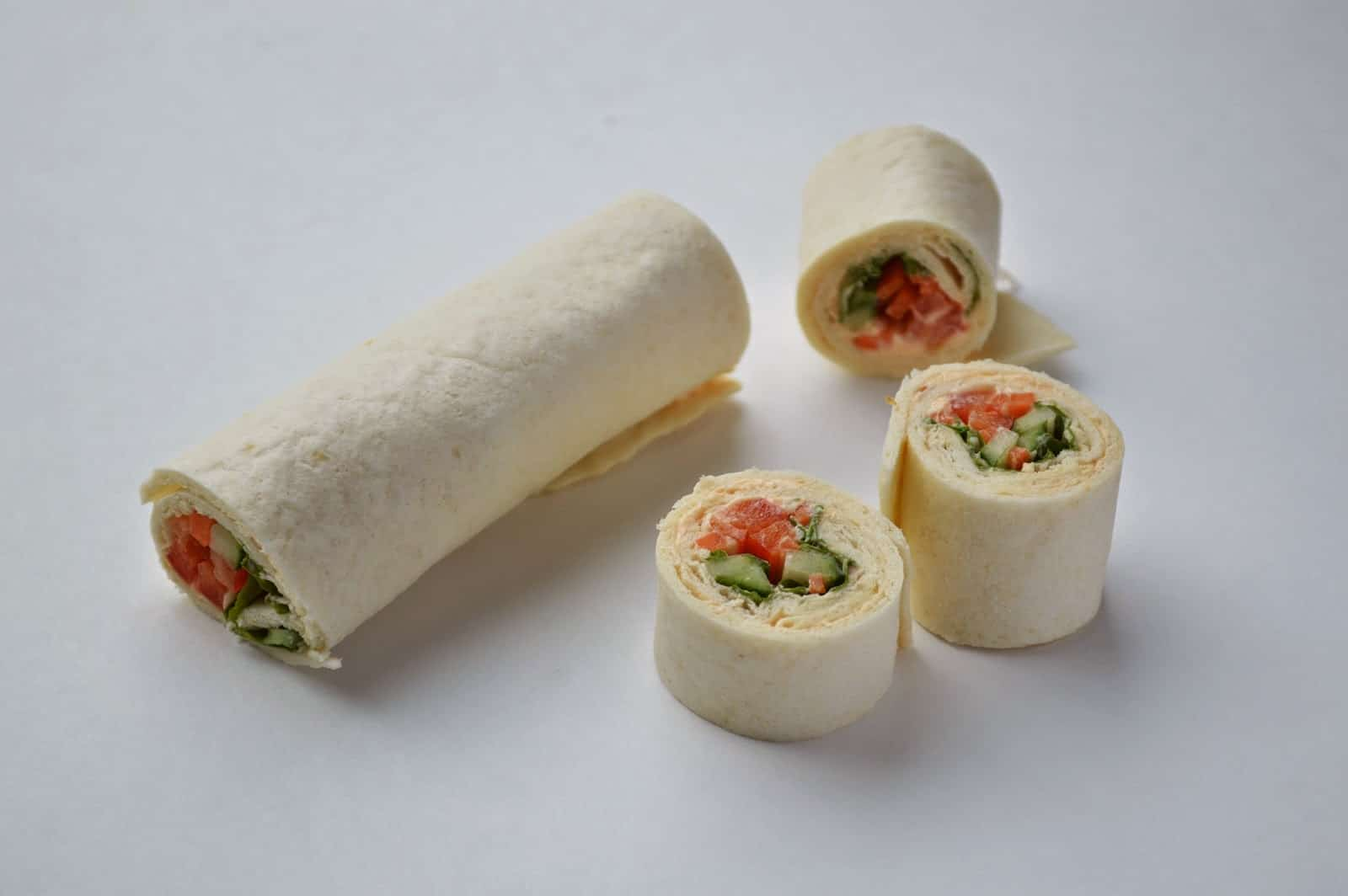 Veggie and hummus wraps