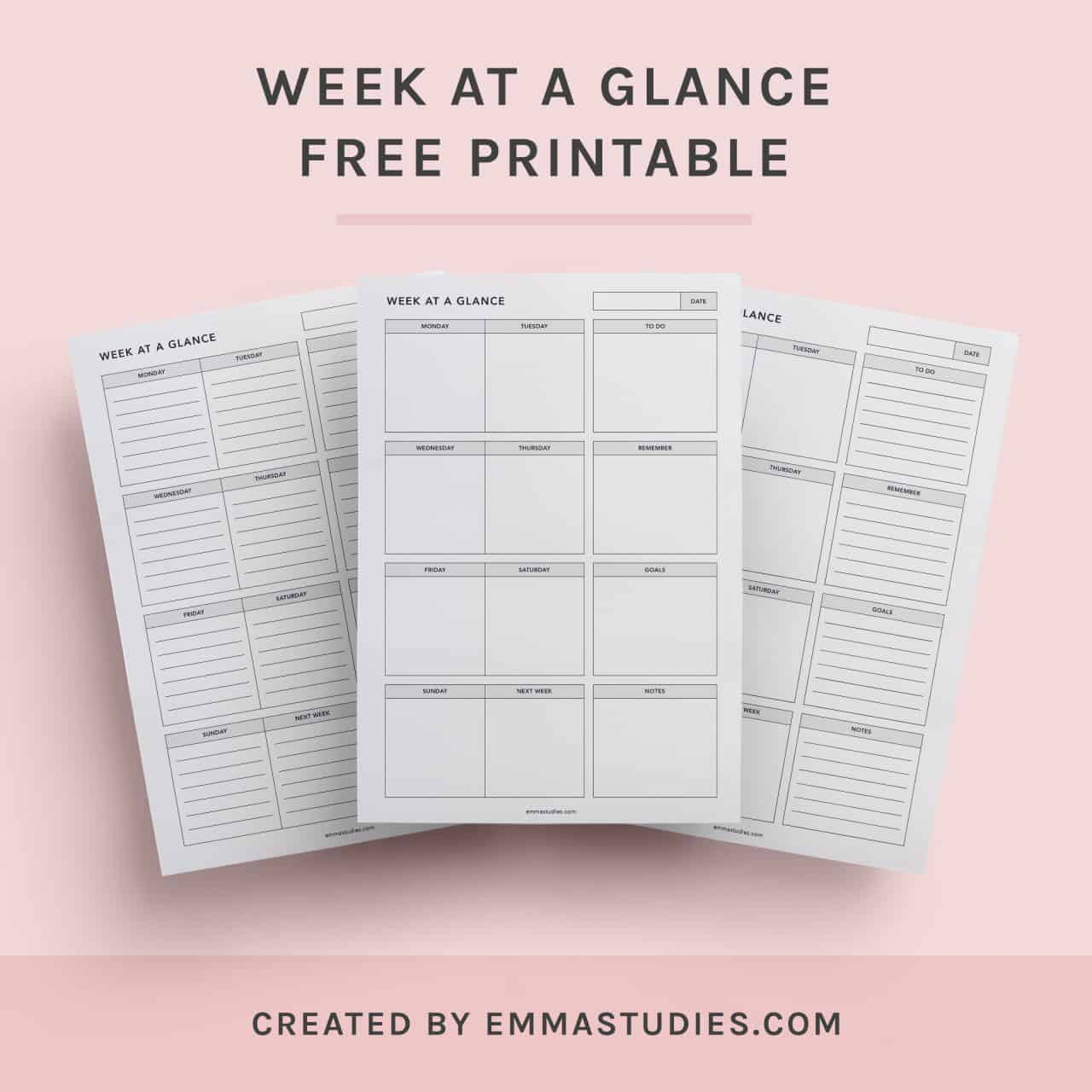 Week at a glance printable