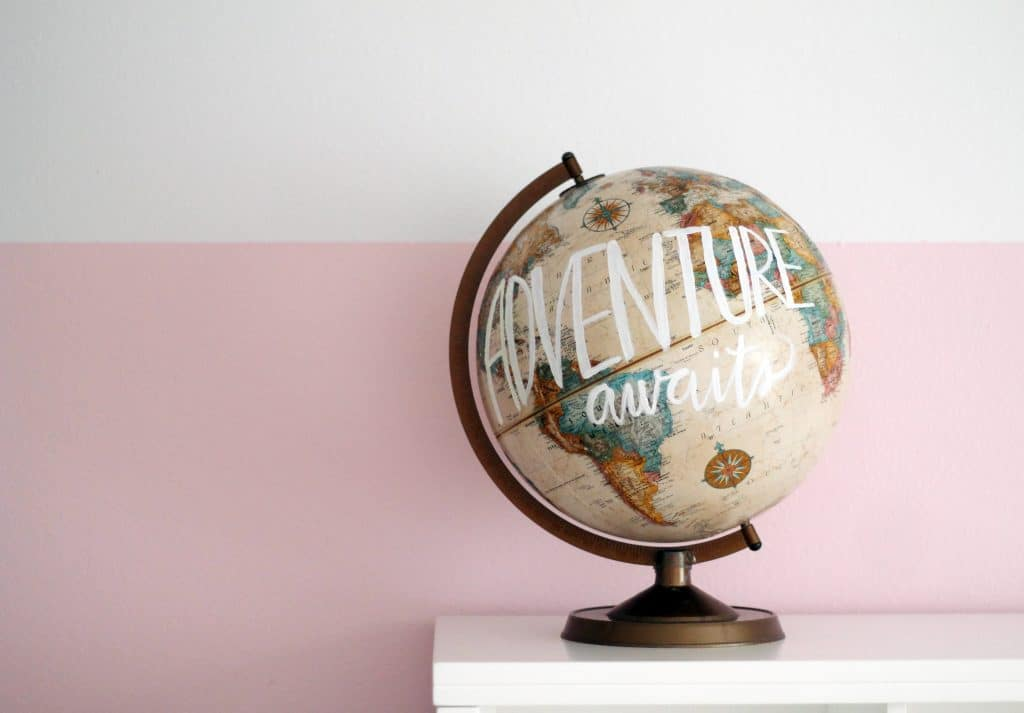 Adventure awaits painted globe
