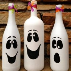 Adorable wine bottle ghosts