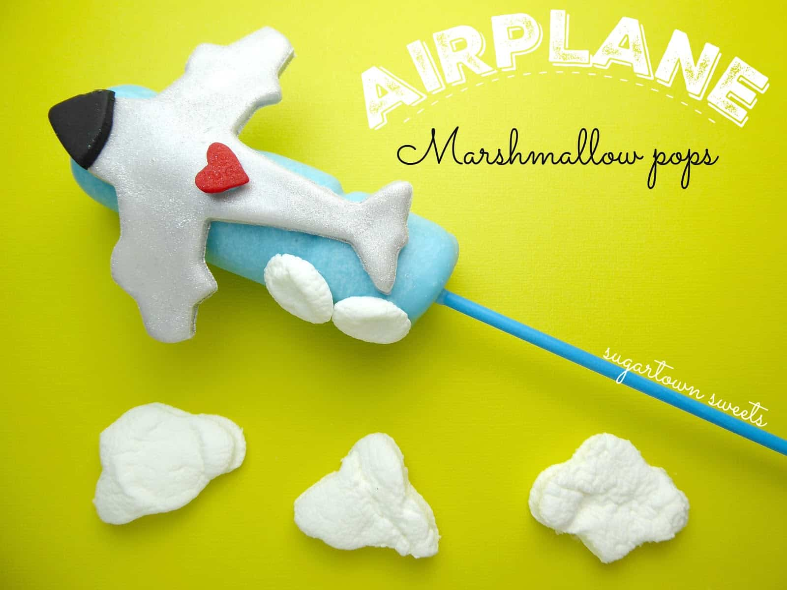 Airplane marshmallow pops