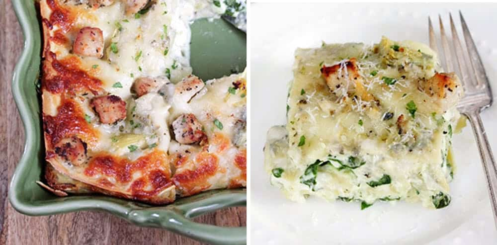 Artichoke spinach and chicken lasagna