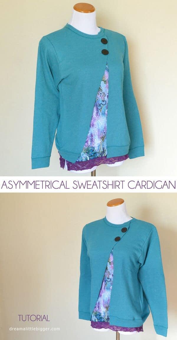 Asymmetrical sweatshirt cardigan